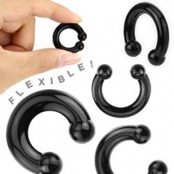 Piercing fer à cheval flexible en silicone noir 3 à 12mm