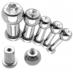 Piercing labret en acier strass transparent 4 à 6mm