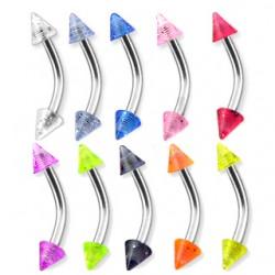 Piercing pour arcade acry 20 - UV paillettes pointes