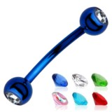 Piercing arcade 24 - PVD bleu strass