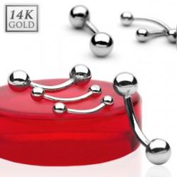Piercing arcade boules OR blanc 14k