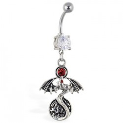 Piercing nombril dragon 14 - Strass rouge