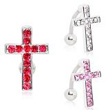 Piercing nombril croix 14 - Inversé avec strass