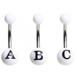 Piercing nombril UV blanc lettre