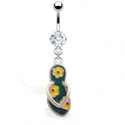 Piercing nombril tong 13 - Verte avec fleurs jaunes
