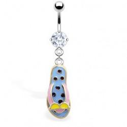Piercing nombril tong 18 - Bleu-clair et petits pois