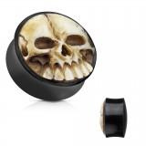 Plug courbe en corne et crâne en résine 3D