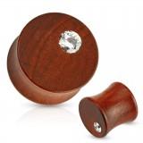 Plug courbe en bois avec petit zircone
