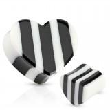 Plug courbe en corne noire et blanche coeur