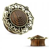 Plug courbe en bois petit dôme bronze