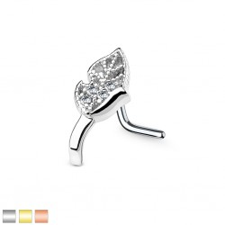 Piercing nez courbé 0.8 ou 1mm 54 - Feuille strass