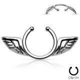 Faux-piercing pour téton 26 - Deux ailes grises