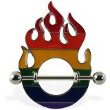 Piercing téton gay-pride 01 - Flammes
