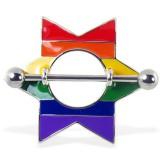 Piercing téton gay-pride 09 - étoile arc-en-ciel