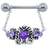 Piercing téton barbell 85 - Motif deluxe B pendant