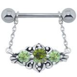 Piercing téton barbell 86 - Motif deluxe C pendant