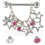 Piercing téton étoile 03 - Creuses et strass ronds