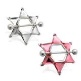 Piercing téton étoile 04 - Gros zircones