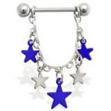 Piercing téton étoile 10 - Bleues et grises
