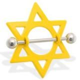 Piercing téton étoile 11 - Jaune