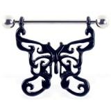 Piercing téton papillon 01 - Noir motifs creux A