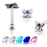 Piercing stud de nez 0.5mm 13 - Papillon