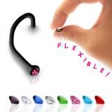 Piercing de nez courbe 1mm 09 - Flexible noir cristal