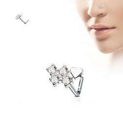 Piercing nez courbé 0.8mm 60 - Quatre zircones