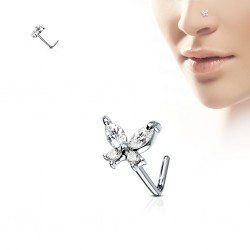 Piercing nez courbé 0.8mm 64 - Papillon zircones