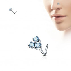 Piercing nez courbé 0.8mm 73 - Trois gems turquoises