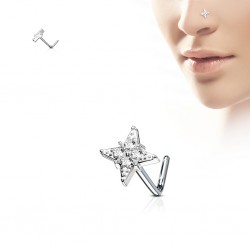 Piercing nez courbé 0.8mm 74 - Etoile quatre branches
