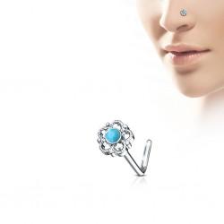 Piercing nez courbé 0.8mm 76 - Fleur centre turquoise