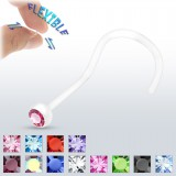 Piercing de nez courbe 0,8mm 03 - Bioflex cristal