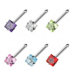 Piercing nez droit 0,8mm 30 - Cristal carré