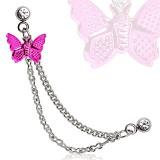 Chaine pour oreille 23 - Papillon rose