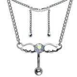 Chaine de taille avec Piercing 17 - Deux ailes d'ange