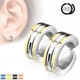 Faux Piercing oreille 38 - Clip bicolore (la paire)