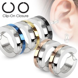 Faux Piercing oreille 42 - Clip gris et PVD (la paire)