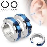 Faux Piercing oreille 43 - Clip bleu (la paire)