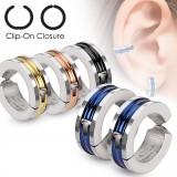Faux Piercing oreille 46 - Clip PVD et zircone (la paire)