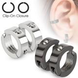 Faux Piercing oreille 47 - Clip gris ou noir (la paire)