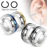 Faux Piercing oreille 49 - Clip bicolore (la paire)