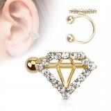 Faux Piercing oreille 62 - Plaqué or diamant