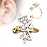 Faux Piercing oreille 63 - Plaqué or fleur