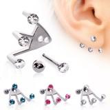 Piercing oreille original 15 - Trois strass