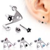 Piercing oreille original 16 - Trois strass étoile