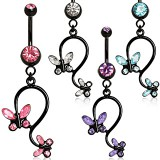 Piercing nombril noir 05 - Papillon pendant