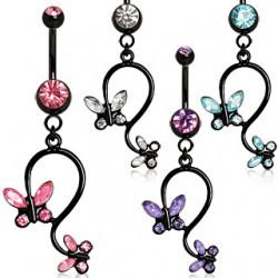 Piercing nombril noir 05 - Papillon pendant