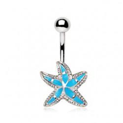 Piercing nombril étoile 13 - Bleu-clair