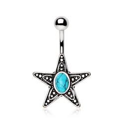 Piercing nombril étoile 11 - Turquoise vintage